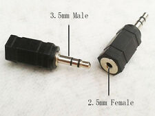 New Male to 2.5mm Female Stereo Audio Headphone Jack Adapter Converter 2X 3.5mm