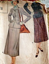 LOVELY VTG 1950s SUIT DESIGNERS Sewing Pattern 12/30