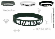 Fitness Bodybuilding Wristband Bracelet Crossfit Sports Gym Silicone Rubber NEW!