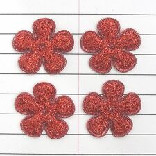 """MANY COLOR 60 pcs x 1"""" Padded Shiny Felt Spring Flower Appliques for Cards ST504"""