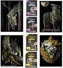 Set 4 INCISIONE ARTE KIT A5 OLOGRAFICA DRAGON WOLF ORO Gnome & Fairy Gargoyle
