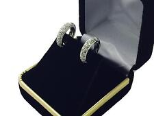 Sterling silver earrings round brilliant cut micro pave set hoop style 925