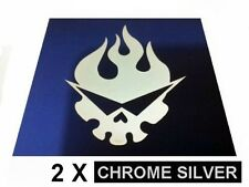 (2X) 45mm Tengen Toppa Gurren Lagann chrome silver metal EMBOSS stickers A