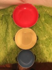 Vintage Set of 3 Enamel Saute Pans Made in Yugoslavia Red#25 Yellow#20 Blue