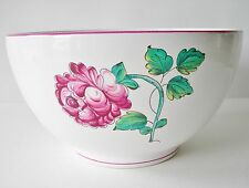 ~ TIFFANY STRASBOURG FLOWERS LARGE FRUIT BOWL PUCE AND GREEN ON WHITE PORCELAIN