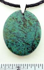 Chrysocolla ARTISAN Pendant Necklace Leather Braided Cord SS Clasp Bail A018-07