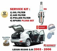 FOR LEXUS RX300 3.0i 2003-2006 NEW FILTER KIT OIL AIR POLLEN FILTER + PLUGS SET