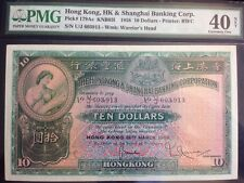 1958 Hong Kong $10 Dollars Pick 179Ac PMG 40 NET