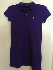NEW RALPH LAUREN POLO MESH MINI SHIRT DRESS COTTON PURPLE W/YELLOW PONY LOGO XL