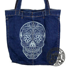 S17. SUGAR SKULL TOTENKOPF Jeans Denim Shopping Bag Marionelli Tasche