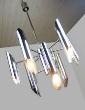 Chrome CHANDELIER Pendant Lamp by GAETANO SCIOLARI, Italy 1970's