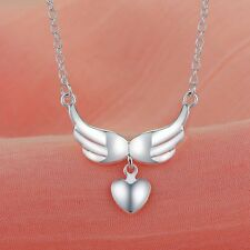 N5 925 Silver Plated Guardian Angel Wings Heart Pendant Necklace - Gift Boxed