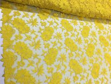 "Yellow Embroidered Flower Lace 55"" Inches Wide Fabric Sold By The Yard"