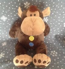 """LARGE BUTTONS MONKEY SOFT PLUSH COMFORTER TOY 24"""" TALL EX CONDTION"""