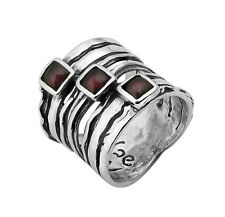 Bridal Hammered Solid 925 Sterling Silver Rings Red Garnet Stone Three-Stone