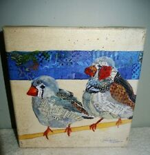"ELIZABETH ST. HILAIRE NELSON SIGNED CANVAS PAPER PAINTED BIRDS ON BRANCH 8"" X 8"""