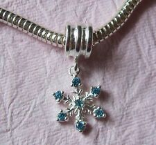 Fiocco di Neve Argento Sterling 925 Perline Hanger Bracciale con Charm Perline confezione regalo gratuito