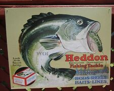 Heddon Fishing Tackle Rods Reel Big Mouth Bass Advertising Metal Picture Sign