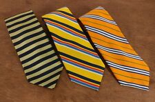 3 ROOSTER MENS Striped Ties - Orange - Yellow - Gold