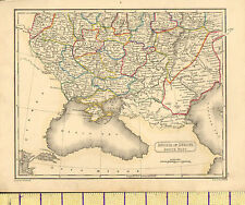 c1815 MAP RUSSIA SOUTH PART ~ CHERSON KOURSK KIEV ~ HAND COLOURED