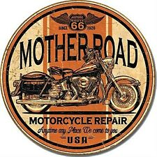 Mother Road Motorcycle Repair round metal sign   (de rnd)