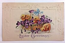 Antique Embossed Postcard 1917 O.P. Easter Greetings 3 Chicks in a Easter Basket