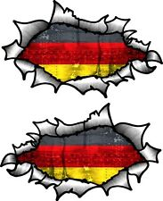 Petite paire ovale ripped torn metal & allemagne allemand pays drapeau autocollant voiture