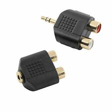 Antsig 3.5 TO 2 RCA AUDIO ADAPTOR SET Gold Plated Connections, BLACK *Aust Brand