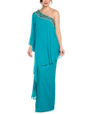 NWT $995 Marchesa Notte Luxury Silk Pageant Cocktail evening prom dress Turq 10
