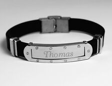 THOMAS - Mens Bracelet With Name - Silver Tone With Frame - Custom Personalized