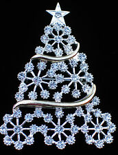 SILVER GOLD CLEAR RHINESTONE SNOWFLAKE CHRISTMAS TREE PIN BROOCH JEWELRY 2 ½""