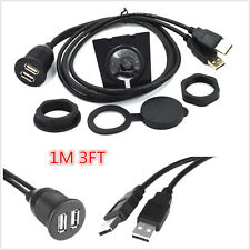 Car Boat Flush Mount Dual USB 2.0A Male To 2x Extention USB Cable Hub 1M/3ft AUX
