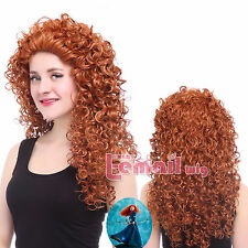 USA Ship Merida Brave Disguise Long Orange Curly Wavy Full Hair Cosplay Wig CB38