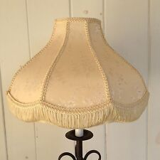 """Victorian Style Floral Fringe Lamp Shade Cream Ivory 9 1/2"""" t x 15"""" w Scalloped"""