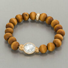Brown Wood Beaded Clear Stone Stretchable Bangle Bracelet