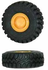 6 FRONT END LOADER WHEELS & TYRES 20x7mm Yellow & Black HO 1/87 Scale HERPA 5439