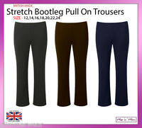 New Ladies Pull On Ponte Bootleg Elasticated Women Trousers Plus Sizes 12-24