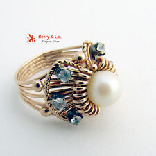Vintage 14 K Gold Pearl and Diamond Ring