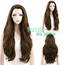 """26"""" Long  Mixed Dark Brown Curly Wavy Lace Front Wig Heat Resistant"""