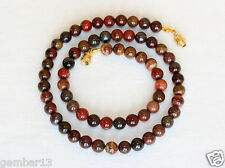 "6mm Iron Blood Stone Necklace. Bloodstone Beads. Healing Necklace 16"" Red Beads"
