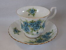 ROYAL ALBERT ENG. CHINA  TEA CUP&SAUCER TURQUOISE BLUE FLOWER PRE OWN