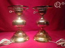Vintage 2 Table Lamps Brass Oil Lamp Style