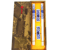 New 2Pairs Chinese Handmade Vintage Porcelain Chopsticks And Brackets Gift Set