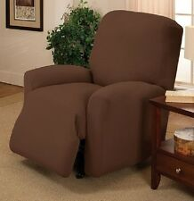Madison Stretch Pique 4 Piece Large RECLINER Slipcover Waffle Textured Chestnut