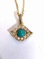 18K Yellow Gold VS Diamond and Turquoise Evil Eye Pendant with Necklace