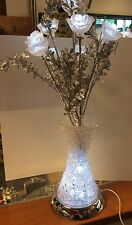 LIGHT UP LED ELECTRIC SILVER FLOWER ARRANGEMENT IN ACRYLIC VASE