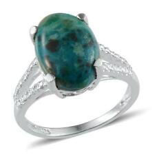 4.25ct Chrysocolla Solitaire Ring in 925 Sterling Silver - UK Size O