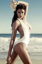 Para mujeres profundo hundir Blanco Baño Bikini Monokini Espalda descubierta Traje de Baño Natación 8-10
