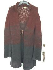 Free People sweater coat in burgundy & gray size L with leather tie closure.