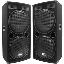 "Seismic Audio Pair Dual 15"" PA DJ Black Speakers 1000 Watts ~ Studio"